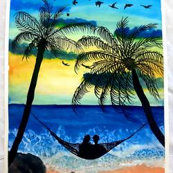 holiday, 11 x 14 inch, priya  chhillar ,11x14inch,cartridge paper,paintings,paintings for dining room,paintings for living room,paintings for bedroom,paintings for hotel,ink color,poster color,GAL03135643904