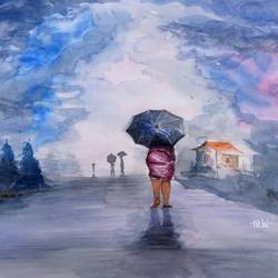rainy day, 13 x 11 inch, nikhil venu,13x11inch,ivory sheet,paintings,landscape paintings,paintings for living room,paintings for bedroom,paintings for kids room,watercolor,GAL03138443915