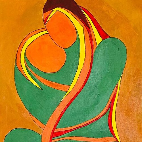 mothers love, 12 x 17 inch, ashwini kolkondi,12x17inch,thick paper,paintings,abstract paintings,expressionism paintings,illustration paintings,acrylic color,GAL03119543916