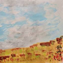 summer clouds, 11 x 8 inch, suchitra lata,11x8inch,brustro watercolor paper,abstract paintings,landscape paintings,paintings for dining room,paintings for living room,paintings for hospital,paintings for dining room,paintings for living room,paintings for hospital,acrylic color,GAL03140343919