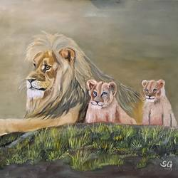 lion family, 30 x 20 inch, subhash gijare,wildlife paintings,paintings for living room,animal paintings,canvas,oil,30x20inch,GAL01384392