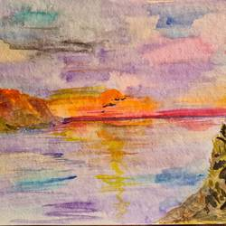 listening to the sunrise, 11 x 8 inch, suchitra lata,11x8inch,brustro watercolor paper,paintings,landscape paintings,minimalist paintings,paintings for dining room,paintings for living room,paintings for bedroom,watercolor,GAL03140343922