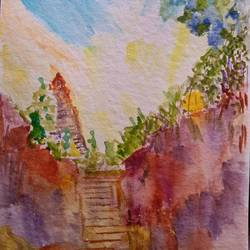 at the temple steps, 11 x 8 inch, suchitra lata,11x8inch,handmade paper,paintings,landscape paintings,modern art paintings,paintings for dining room,paintings for living room,watercolor,GAL03140343923