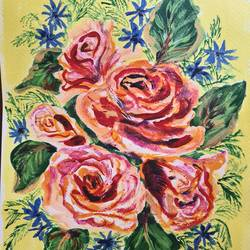 bouquet of roses, 8 x 11 inch, suchitra lata,8x11inch,brustro watercolor paper,paintings,flower paintings,paintings for dining room,paintings for living room,paintings for bedroom,paintings for bathroom,paintings for hotel,paintings for dining room,paintings for living room,paintings for bedroom,paintings for bathroom,paintings for hotel,acrylic color,GAL03140343929