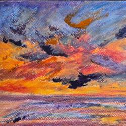 sunset brilliance, 11 x 8 inch, suchitra lata,11x8inch,brustro watercolor paper,paintings,landscape paintings,nature paintings   scenery paintings,impressionist paintings,paintings for dining room,paintings for living room,paintings for bedroom,paintings for dining room,paintings for living room,paintings for bedroom,mixed media,oil color,pastel color,GAL03140343931