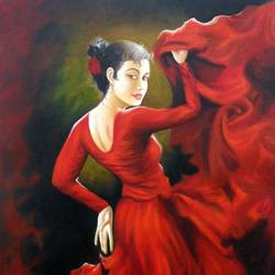 lady in red, 28 x 36 inch, ruchita patel,figurative paintings,paintings for bedroom,canvas,oil,28x36inch,GAL015404395