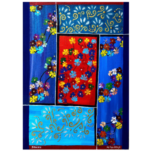 colourful florets, 9 x 12 inch, shivani tapdiya,9x12inch,canvas,paintings,abstract paintings,flower paintings,modern art paintings,art deco paintings,paintings for living room,paintings for office,paintings for hotel,paintings for hospital,acrylic color,GAL02892043961