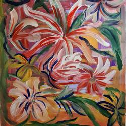 floralscape 2, 14 x 20 inch, suchitra lata,14x20inch,oil sheet,paintings,abstract paintings,flower paintings,modern art paintings,still life paintings,nature paintings   scenery paintings,impressionist paintings,paintings for dining room,paintings for living room,paintings for bedroom,paintings for office,paintings for hotel,paintings for hospital,acrylic color,GAL03140343972