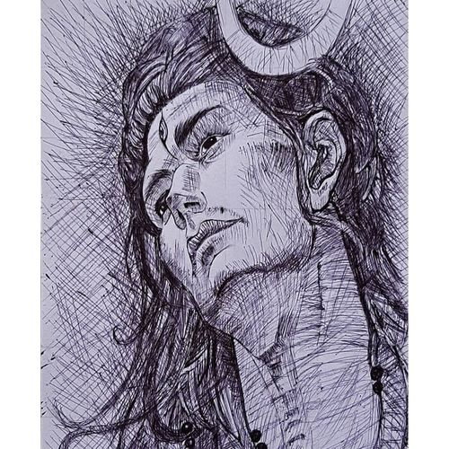 lord shiva sketch, 7 x 10 inch, abhishek pandey,7x10inch,thick paper,paintings,religious paintings,lord shiva paintings,paintings for living room,paintings for office,paintings for hotel,paintings for school,paintings for hospital,pen color,paper,GAL03099343977