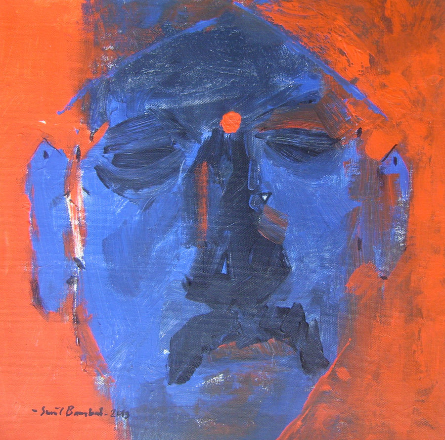 blue man , 16 x 16 inch, sunil bambal,contemporary paintings,paintings for living room,canvas,acrylic color,16x16inch,GAL015414398