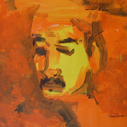 village man, 12 x 12 inch, sunil bambal,contemporary paintings,paintings for office,canvas,acrylic color,12x12inch,GAL015414399