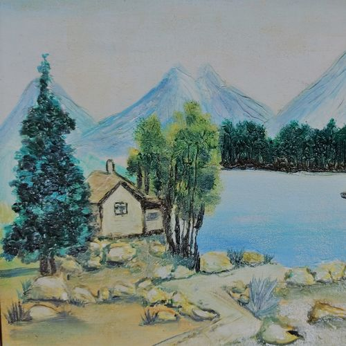 life in the mountains, 17 x 8 inch, anuradha kumar ,17x8inch,canvas,paintings,landscape paintings,nature paintings | scenery paintings,paintings for dining room,paintings for living room,paintings for bedroom,paintings for office,paintings for hotel,paintings for hospital,oil color,GAL03143243991