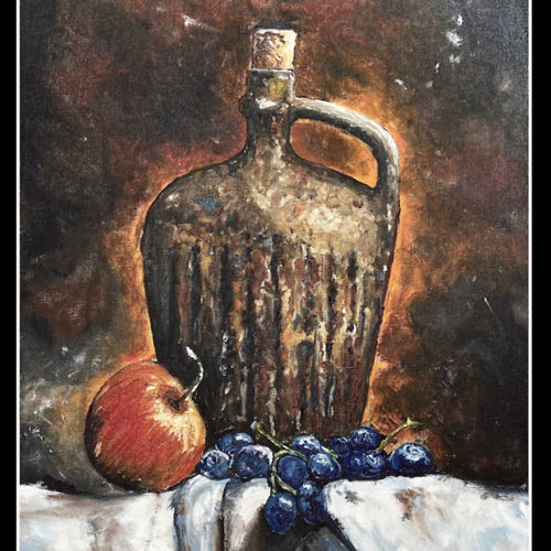 fruit and wine, 15 x 22 inch, shreya  ladha,15x22inch,canvas,paintings,still life paintings,paintings for dining room,paintings for living room,paintings for bedroom,paintings for office,paintings for hotel,oil color,GAL02151443995