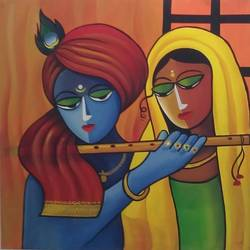 radhe krishna, 36 x 36 inch, vaishali desai,abstract paintings,paintings for living room,radha krishna paintings,canvas,acrylic color,36x36inch,GAL01644,radhakrishna,love,lord,lordkrishna,lordradha,flute,music,peace,hindu,radha,krishna