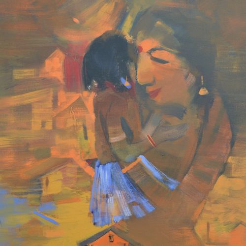 mother and child, 24 x 48 inch, sunil bambal,contemporary paintings,paintings for living room,canvas,acrylic color,24x48inch,GAL015414400