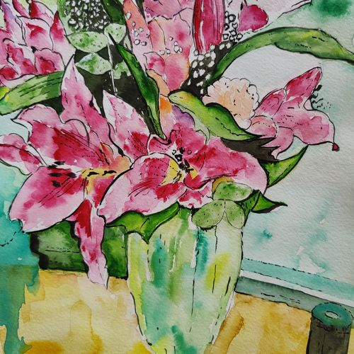 blooms, 8 x 11 inch, richu kharwal,8x11inch,brustro watercolor paper,still life paintings,paintings for living room,paintings for living room,watercolor,GAL03093844001