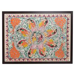 handmade madhubani painting mithila bihar folk indian art home décor housewarming gift, 35 x 25 inch, indeasia  srijan,35x25inch,rice paper,paintings,madhubani paintings | madhubani art,paintings for dining room,paintings for living room,paintings for bedroom,paintings for office,paintings for hotel,acrylic color,ink color,GAL03022944019