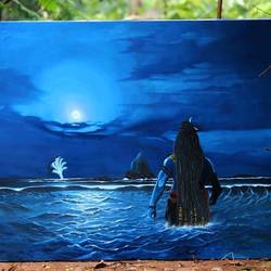 samudra manthan, 39 x 31 inch, biswajit singha,39x31inch,canvas,religious paintings,oil color,GAL03147444027