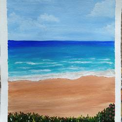 at the beach, 12 x 14 inch, kalpana manohar,12x14inch,canvas,paintings,landscape paintings,nature paintings | scenery paintings,paintings for living room,acrylic color,GAL03130044034