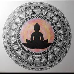 peace within , 14 x 11 inch, vasudha arora,14x11inch,ivory sheet,drawings,art deco drawings,fine art drawings,buddha drawings,paintings for dining room,paintings for living room,paintings for office,paintings for hotel,paintings for school,paintings for hospital,pen color,paper,GAL03143844040