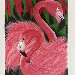 flamingo bird painting, 12 x 16 inch, aishwarya br,12x16inch,canvas,paintings,animal paintings,paintings for dining room,paintings for living room,paintings for bedroom,paintings for kids room,paintings for hotel,paintings for school,acrylic color,GAL02103244043