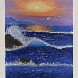 beach waves, 12 x 16 inch, aishwarya br,12x16inch,canvas,landscape paintings,paintings for living room,paintings for bedroom,paintings for kids room,paintings for kitchen,paintings for living room,paintings for bedroom,paintings for kids room,paintings for kitchen,acrylic color,GAL02103244044
