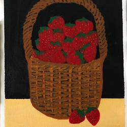 basket of strawberries, 12 x 16 inch, aishwarya br,12x16inch,canvas,paintings,still life paintings,paintings for kids room,paintings for hotel,paintings for kitchen,acrylic color,GAL02103244049