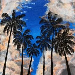 skyscape with palm trees, 12 x 16 inch, aishwarya br,12x16inch,canvas,paintings,landscape paintings,nature paintings   scenery paintings,paintings for living room,paintings for bedroom,paintings for kitchen,acrylic color,GAL02103244051
