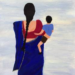 mother and child , 12 x 16 inch, aishwarya br,12x16inch,canvas,paintings,love paintings,paintings for living room,paintings for bedroom,acrylic color,GAL02103244057
