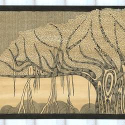 tree of life-2, 30 x 12 inch, kadambari aytoda,folk art paintings,paintings for living room,handmade paper,natural color,30x12inch,GAL014524406
