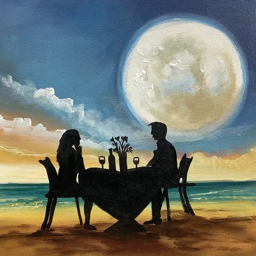 couple date in moonlight (artoholic), 24 x 24 inch, artoholic p,24x24inch,canvas,paintings,cityscape paintings,landscape paintings,conceptual paintings,art deco paintings,expressionism paintings,illustration paintings,photorealism paintings,photorealism,portraiture,realism paintings,realistic paintings,love paintings,paintings for dining room,paintings for living room,paintings for bedroom,paintings for office,paintings for kids room,paintings for hotel,paintings for kitchen,paintings for school,paintings for hospital,acrylic color,GAL02078844073