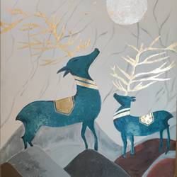 reindeers in a jungle, 27 x 32 inch, shefali aggarwal,27x32inch,canvas,paintings,wildlife paintings,figurative paintings,foil paintings,modern art paintings,conceptual paintings,nature paintings | scenery paintings,art deco paintings,animal paintings,paintings for dining room,paintings for living room,paintings for bedroom,paintings for office,paintings for hotel,paintings for kitchen,paintings for school,paintings for hospital,acrylic color,fabric,oil color,GAL03125944078