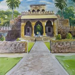 ancient architecture, 15 x 11 inch, anjan  laha,15x11inch,fabriano sheet,paintings,cityscape paintings,landscape paintings,impressionist paintings,watercolor,GAL02936144079