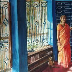 my mother, 30 x 40 inch, soyli saha,30x40inch,canvas,paintings,figurative paintings,paintings for dining room,paintings for living room,paintings for bedroom,paintings for office,paintings for bathroom,paintings for kids room,paintings for hotel,paintings for kitchen,paintings for school,paintings for hospital,oil color,GAL0606544083