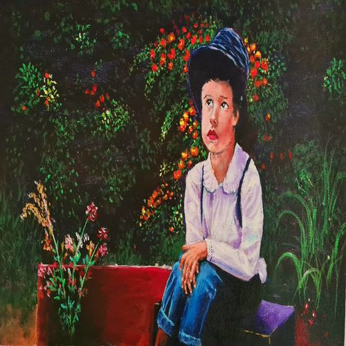 little boy in garden, 16 x 11 inch, akrosh saxena,16x11inch,canvas,paintings,figurative paintings,flower paintings,landscape paintings,acrylic color,GAL03151244097