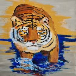 tiger, 18 x 24 inch, akrosh saxena,18x24inch,canvas,figurative paintings,acrylic color,GAL03151244098