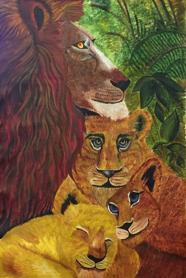 lionpride, 31 x 43 inch, aarti kalra,wildlife paintings,paintings for living room,canvas,acrylic color,31x43inch,GAL0233441