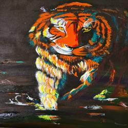 tiger, 20 x 24 inch, akrosh saxena,20x24inch,canvas,paintings,animal paintings,acrylic color,GAL03151244100