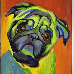 pet pug, 8 x 12 inch, tulika sharma,8x12inch,brustro watercolor paper,abstract paintings,wildlife paintings,figurative paintings,modern art paintings,portrait paintings,abstract expressionism paintings,animal paintings,dog painting,acrylic color,poster color,watercolor,GAL03091144110