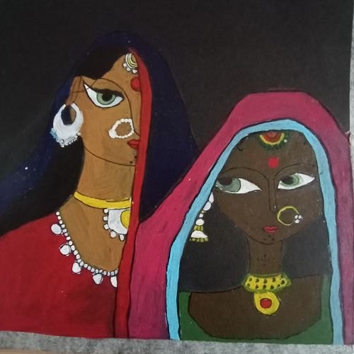 sisters, 10 x 10 inch, chinmayee k,10x10inch,thick paper,paintings,folk art paintings,paintings for dining room,paintings for living room,paintings for hotel,acrylic color,GAL03149344113