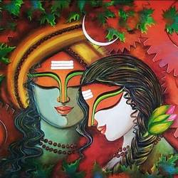 hara gouri 3, 48 x 24 inch, susmita mandal,48x24inch,canvas,paintings,religious paintings,paintings for living room,paintings for bedroom,paintings for hotel,acrylic color,GAL01940544117