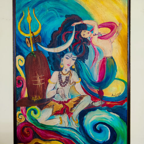 creation of ganges (abstract), 25 x 37 inch, prakhar  gupta ,25x37inch,canvas,paintings,abstract paintings,religious paintings,paintings for dining room,paintings for living room,paintings for bedroom,paintings for office,paintings for kids room,paintings for hotel,paintings for school,fabric,GAL03151644118