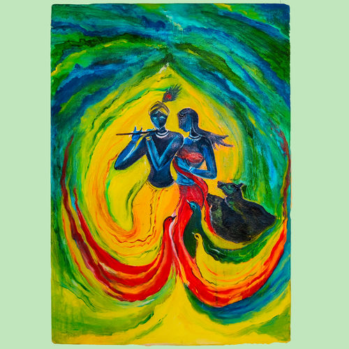 krishna and radha, 14 x 20 inch, prakhar  gupta ,14x20inch,canvas,paintings,modern art paintings,conceptual paintings,religious paintings,radha krishna paintings,paintings for dining room,paintings for living room,paintings for bedroom,paintings for office,paintings for kids room,paintings for hotel,paintings for kitchen,acrylic color,fabric,poster color,GAL03151644123