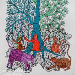 gond art handmade paper painting india decor gift, 15 x 22 inch, indeasia  srijan,15x22inch,rice paper,paintings,gond painting.,paintings for dining room,paintings for living room,paintings for bedroom,paintings for office,paintings for hotel,acrylic color,ink color,GAL03022944129
