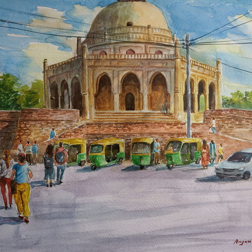 historical monument, 14 x 11 inch, anjan  laha,14x11inch,fabriano sheet,paintings,landscape paintings,impressionist paintings,paintings for living room,paintings for bedroom,paintings for hotel,paintings for school,paintings for hospital,watercolor,GAL02936144130
