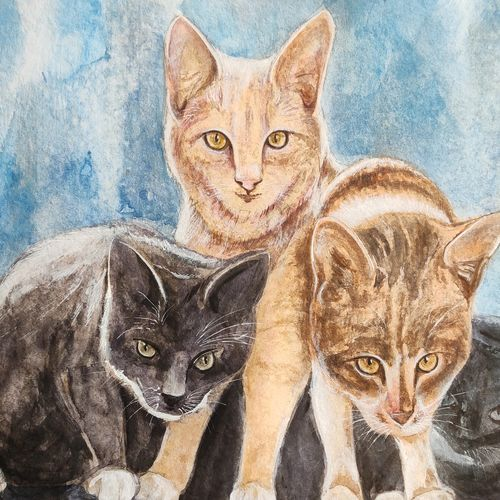 kitten, 18 x 14 inch, ram mohan e,18x14inch,paper,paintings,wildlife paintings,nature paintings | scenery paintings,impressionist paintings,paintings for dining room,paintings for living room,paintings for office,paintings for kids room,paintings for hotel,paintings for school,watercolor,GAL069744141