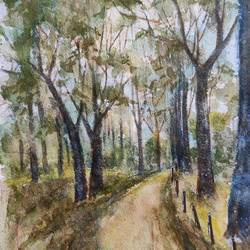 landscape, 11 x 15 inch, ram mohan e,11x15inch,handmade paper,paintings,nature paintings | scenery paintings,impressionist paintings,paintings for dining room,paintings for living room,paintings for bedroom,paintings for office,paintings for kids room,paintings for hotel,paintings for school,watercolor,GAL069744143