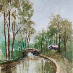 landscape, 11 x 15 inch, ram mohan e,11x15inch,handmade paper,paintings,nature paintings | scenery paintings,impressionist paintings,paintings for dining room,paintings for living room,paintings for bedroom,paintings for office,paintings for kids room,paintings for hotel,paintings for school,watercolor,GAL069744144