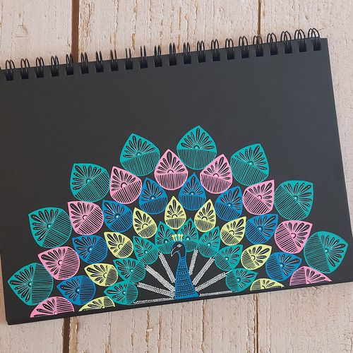peacock mandala , 8 x 12 inch, shailee raichura,8x12inch,thick paper,drawings,abstract drawings,paintings for living room,paintings for bedroom,paintings for office,paintings for kids room,paintings for school,paintings for hospital,pen color,GAL03147644148