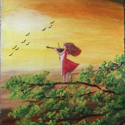 girl with violin, 12 x 15 inch, kalpana manohar,12x15inch,canvas,paintings,figurative paintings,nature paintings | scenery paintings,paintings for living room,paintings for bedroom,acrylic color,GAL03130044173